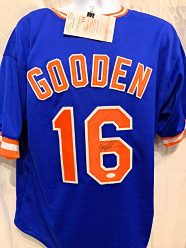 Dwight Gooden New York Mets Signed Autograph Blue Custom Jersey JSA Witnessed Certified ()
