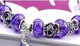 The Starry Night Wonderful Geometry Beads Purple Glass Beaded Boots Pendant Vintage Silver Bracelet