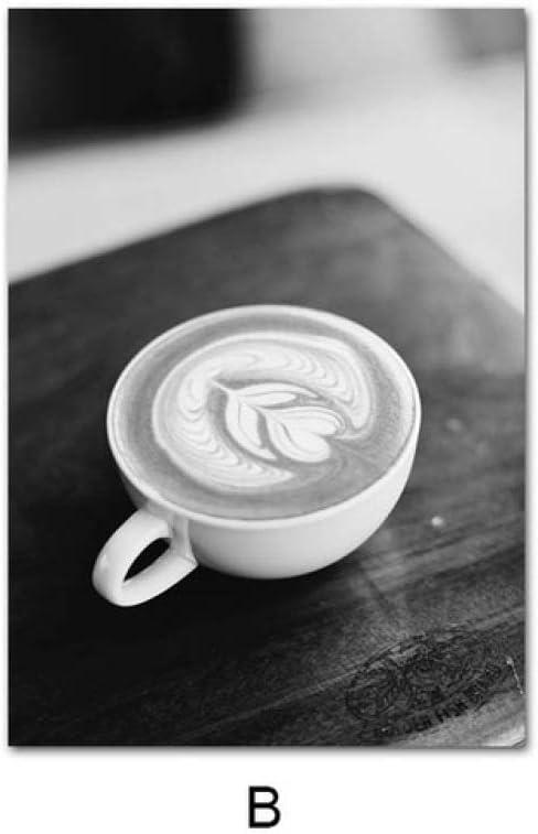 LiMengQi Cartel de Cocina Negro Blanco café Bebida Lienzo ...