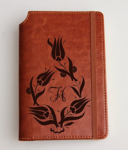 Tulip Design Journal Customizable laser engraved tulip Journal Customizable engraved Journal leather bound, strip with the same color to keep it closed turkish tulip design with custom initial