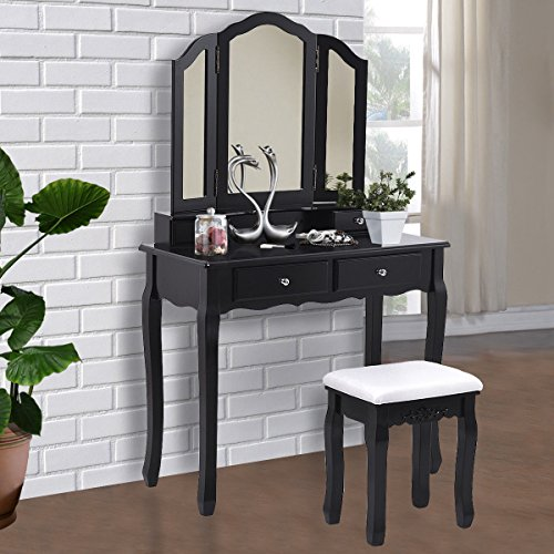 Giantex Tri Folding Mirror Bathroom Vanity Makeup Table Stool Set Home Furni With 4 Drawers (Black)