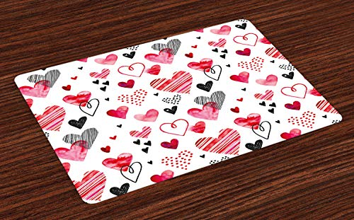 - Ambesonne Valentine Place Mats, Different Types of Heart Shapes Romance Love Theme Watercolor Striped Art, Washable Fabric Placemats for Dining Room Kitchen Table Decor, Pink Black White
