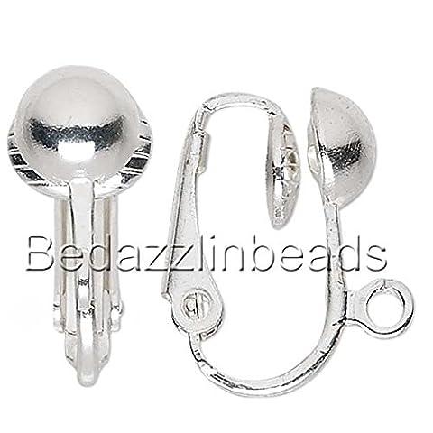 10 Plated Brass Metal Clip On Earring Jewelry Findings w/ Open Loop & Ball (6.5mm Half Ball) - Open Loop Earrings