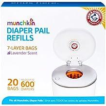 Munchkin Diaper Pail Bag Refills, Blue, 20-Pack