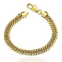Unisex Women Men Fashion Bracelet Gold Lobster Clasp Bangle 24K Gold Plated Body Chain Jewelry Wristband