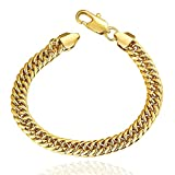 Unisex 9MM Flat Link Chains 18K Gold Plated Lobster Claw Clasp Hip Hop Cuban Bracelet (Gold)