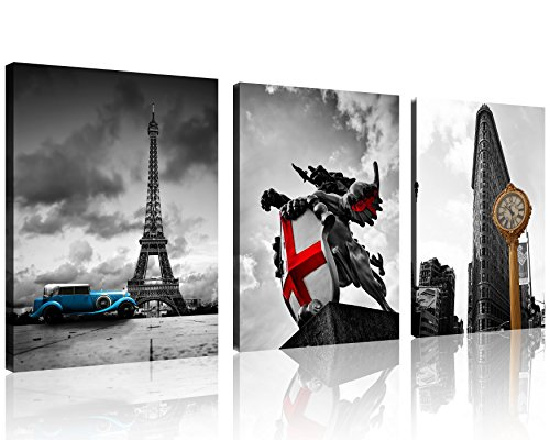 TutuBeer 3 Pcs Black and White with Eiffel Tower Blue Car Canvas in Paris New York City Yellow Clock Europe Black and White with Red St George Dragon Statue Wall Art Decor Canvas Framed Ready to Hang