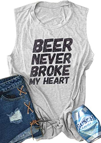 Monaisha Beer Never Broke My Heart Tank Women Funny Drinking Casual Sleeveless T-Shirt (L, Grey) (Best Friend Broke My Heart)