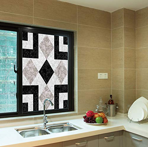 C COABALLA Frosted Window Film,Apartment Decor,for Shop Restaurant Home,Nostalgic Marble Stone Mosaic Regular Design with Alluring,24''x36''