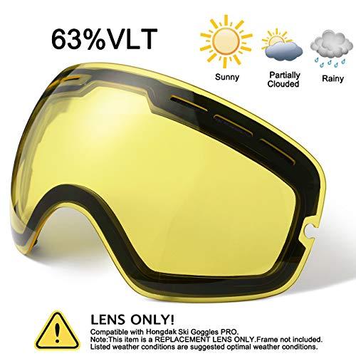 hongdak Ski Goggles Lens, Snowboard Goggles UV Protection, Snow Goggles Helmet Compatible for Men Women Boys Girls Kids, Anti Fog OTG Yellow Lens (Best Inexpensive Ski Goggles)