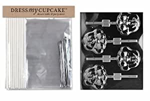 Dress My Cupcake DMC92541  Chocolate Candy Lollipop Packaging Kit with Mold, Large Hound Face Lollipop