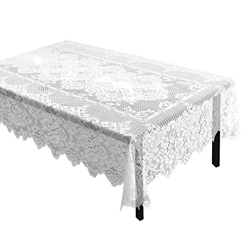 Juvale Lace Tablecloth - Rectangular Tablecloth with Elegant Floral Patterns - Perfect for Birthday Parties, Wedding Receptions, Baby Showers, Dining Room Tables, White, 97.75 x 57.75 -