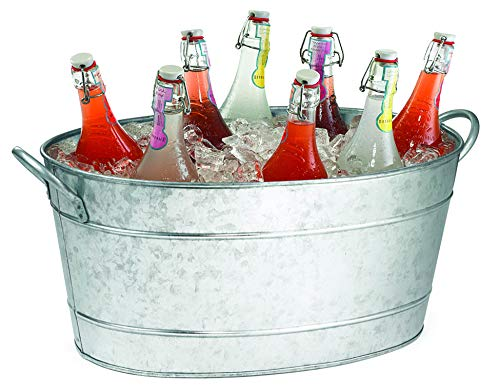 (TableCraft HBT1914 Galvanized Oval Beverage Tub, 22.8 x 14.5 x 9.5-Inch)