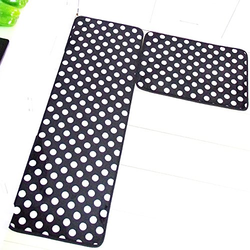 Aboo Kitchen Rugs Memory Foam Non-Slip Mat Black With White Dot (15.7