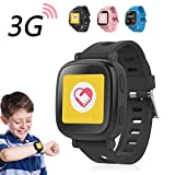 Oaxis 3G GPS Tracker Kids Smart Watch Wristwatch SIM SOS Android Wear Touch Wristwatch Parent Control App for SmartPhone - Black