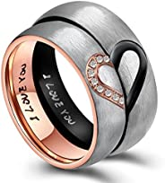 ANAZOZ His & Hers Real Love Heart Promise Ring Stainless Steel Couples Wedding Engagement Bands Top Ring,