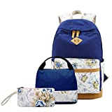 Girls Backpack With Lunch Bag,Gazigo School Backpacks for Teen Girls,3 in 1 Backpack Sets (Flower Blue)