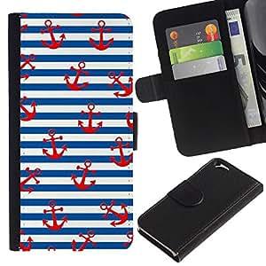 LASTONE PHONE CASE / Lujo Billetera de Cuero Caso del tirón Titular de la tarjeta Flip Carcasa Funda para Apple Iphone 6 4.7 / White Red Lines Sailor Anchor Sea