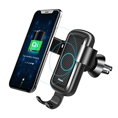 10W Wireless Charger Car Mount, Baseus Gravity Phone Holder for Car Air Vent for Samsung Galaxy S8, S7/S7 Edge, Note 8 5, iPhone X, 8/8 Plus and Qi Enabled (01 Lg Micro Usb)
