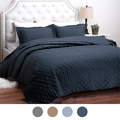 "Quilt Set Solid Navy Full/Queen(86""x96"") Diamond Pattern Lightweight Hypoallergenic Microfiber ""Dominique"" by Bedsure"