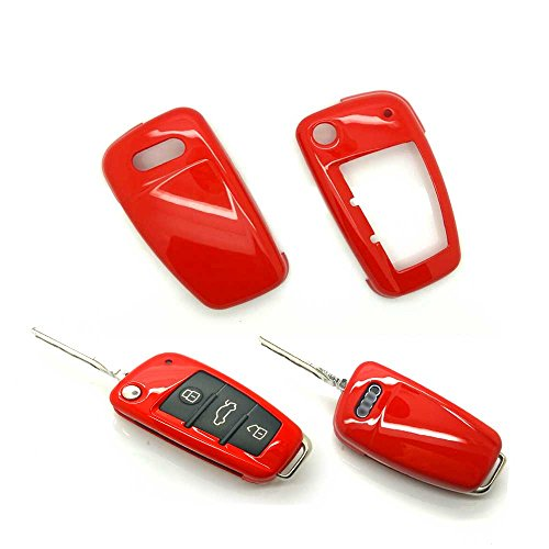 carmonmon Smart Remote Keyless Entry Paint Color Shell Key Case Cover Fit for Audi A3 A4 A6 A8 TT Q7 S6 Folding Blade Key (Red)