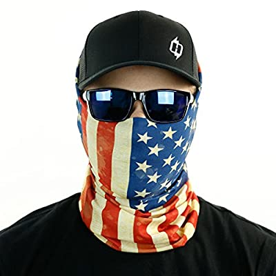 Old Glory Weathered American Flag Seamless UPF 30 High Performance Moisture Wicking Bandana Made of 100% Polyester Microfiber by Hoo-rag