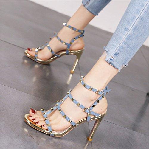 Europeo fashion dita alta di scarpe con e vuoto alta tacco sandali blue rivetti Stile personalizzati party donna tacco con YMFIE banchetti Xwfpxvq