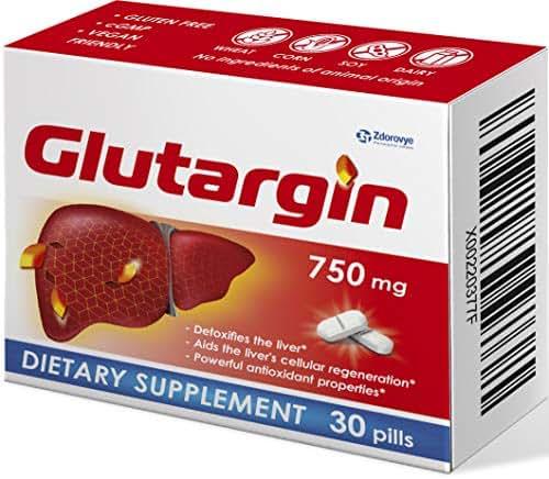 Liver Cleanse Detox & Repair Formula, Glutargine - Pills Used for Liver Rescue, Detox Pills, Detoxifier & Regenerator, Anti-Alcohol Antioxidants
