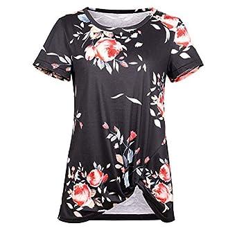 Camiseta de Manga Corta de Color Liso para Mujer.Camiseta de ...