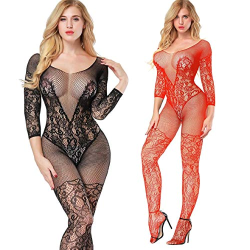 - 2 Pack Fishnet Bodystocking Lingerie Babydoll Crotchless Teddy Nightie Long Sleeve Bodysuit Plus Size for Women (Black+Red)