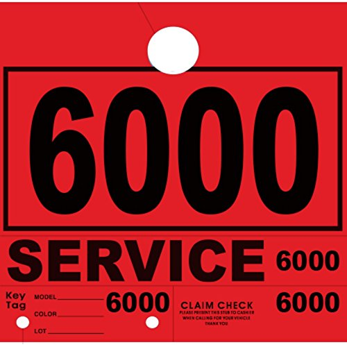 Versa-Tags Service Department Hang Tags Window Tag, Red, Numbers 6000-6999 (1000 Pieces Per Box)