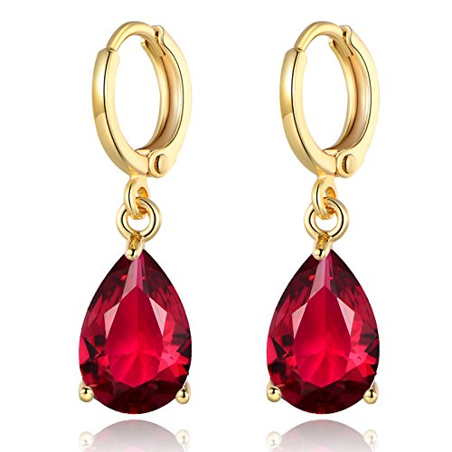 GULICX Lady jewelry Gift Pear Cut Ruby -Color Gold Tone Women Sparkle Dangle Earrings ()
