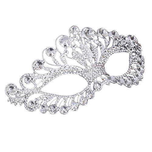 OULII Masquerade Mask Luxury Diamond Rhinestone Fancy Mask Party Crown Mask for Women Lady