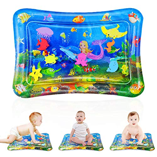 CNMF Baby Tummy Time Water Play Mat, Inflatable Infant Water Mat Toys Activity Centers Play Structures Indoor Floor Playmats for 3 to 12 Months Toddlers Newborn Boys Girls Stimulation Growth