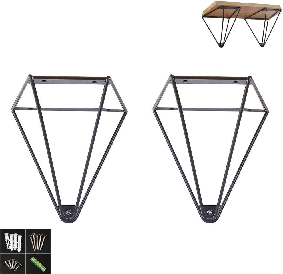 1 Par Soporte de Pared Estantería de Hierro Forjado,Triángulo Metal Soportes Estanterias Shelf Bracket Escuadras para Estanterias Shelf Brackets,Tamaño-165x145mm/6.5x5.7Pulgada (black)