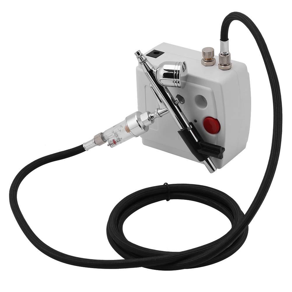 Fdit Airbrush Compressor Kit Dual Action Spray Air Brush Set Tattoo Nail Art Tool (US Plug 110-240V)