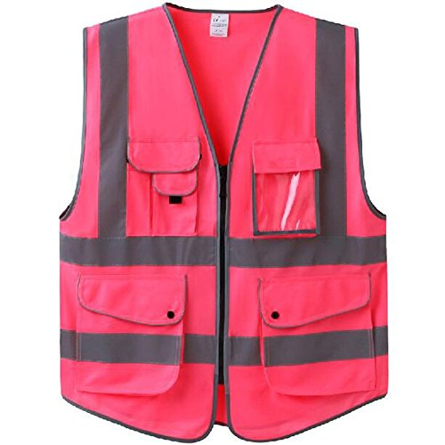 GOGO Hot Pink 7 Pockets High Visibility Zipper Front Safety Vest With Reflective Strips-Hot Pink-L -