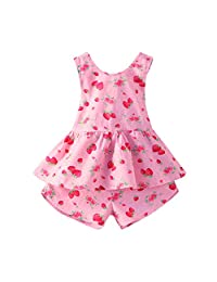 Mud Kingdom Girl's Straberry Backless Tops and Shorts set 2T