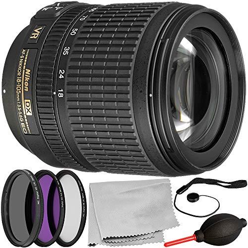 Nikon AF-S DX NIKKOR 18-105mm f/3.5-5.6G ED VR Lens (Certified Refurbished) 5PC Accessory Bundle – Includes 3 Piece Filter Kit (UV + CPL + FLD) + More