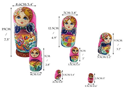 Beautiful Color Cute Little Girl Fairy Tale Handmade Wooden Russian Nesting Dolls Matryoshka Dolls Set 7 Pieces for Kid Toy Birthday Home Decoration by Winterworm (Image #3)