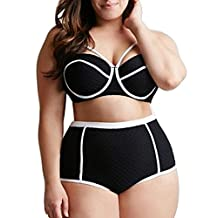 Kisstyle Women's Plus Size Retro White Edge High Waist Bikini Two Piece Swimwear Black XL