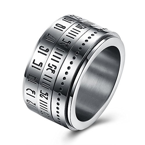 Hand Engraved Engagement Setting (BEMI Elegant Rotatable Engraved Roman Numerals Band Ring Personality Cool Style Statement Rings for Mens 9)