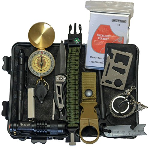 it 14 IN 1 Camping Hiking Gear Outdoor Tactical Climbing Tools Compact Kits Blanket Compass Hunting Knife Tool Wilderness Multi Bracelet Fire Adventures Pen ()