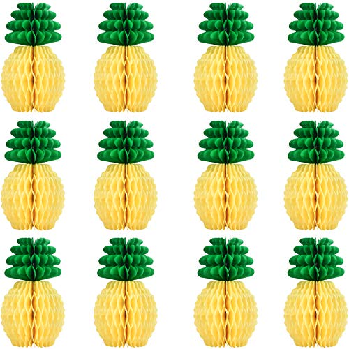 Sunm boutique 12 Pcs Tissue Paper Pineapples Honeycombs, 8 Inches Paper Hawaii Fruit for Tropical Hawaiian Summer Theme Party Beach Decor Wedding Birthday Home Decor -