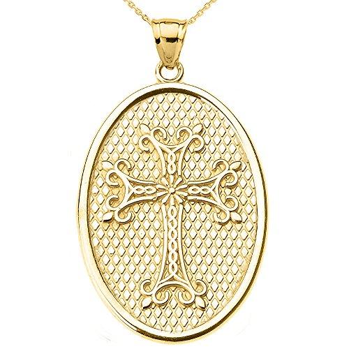 Collier Femme Pendentif 10 Ct Or Jaune Arménien Apostolique Croix Ovale (Livré avec une 45cm Chaîne)