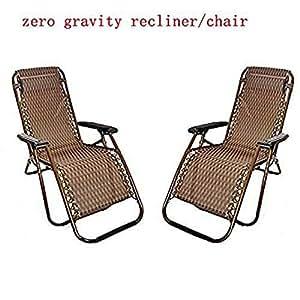 2x Sillón para exteriores (PS) cero gravedad playa piscina Patio reclinable plegable gris