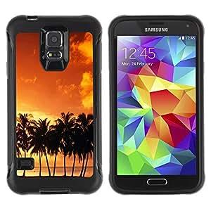 Suave TPU Caso Carcasa de Caucho Funda para Samsung Galaxy S5 SM-G900 / Sunset coconut Beautiful Nature 120 / STRONG