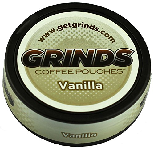 Grinds Coffee Pouches - 6 Cans - Vanilla - Tobacco Free, Nicotine Free Healthy Alternative