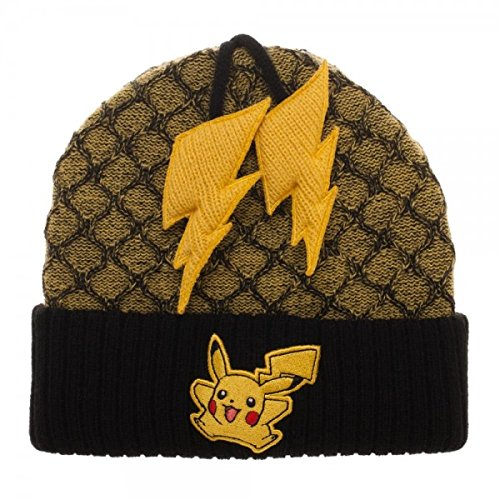 b5f55c07329d54 Image Unavailable. Image not available for. Color: Bioworld Pokemon Pikachu  Poms Yellow Black Beanie