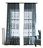 BW0057 High Grade Fine Embroidered Sheer Curtains Window Treatment Home Treatment Voile Panel for Bedroom Living Room (1 Panel, W 52 x L 104 inch, Blue) 1980291C1BYABU152104-8517